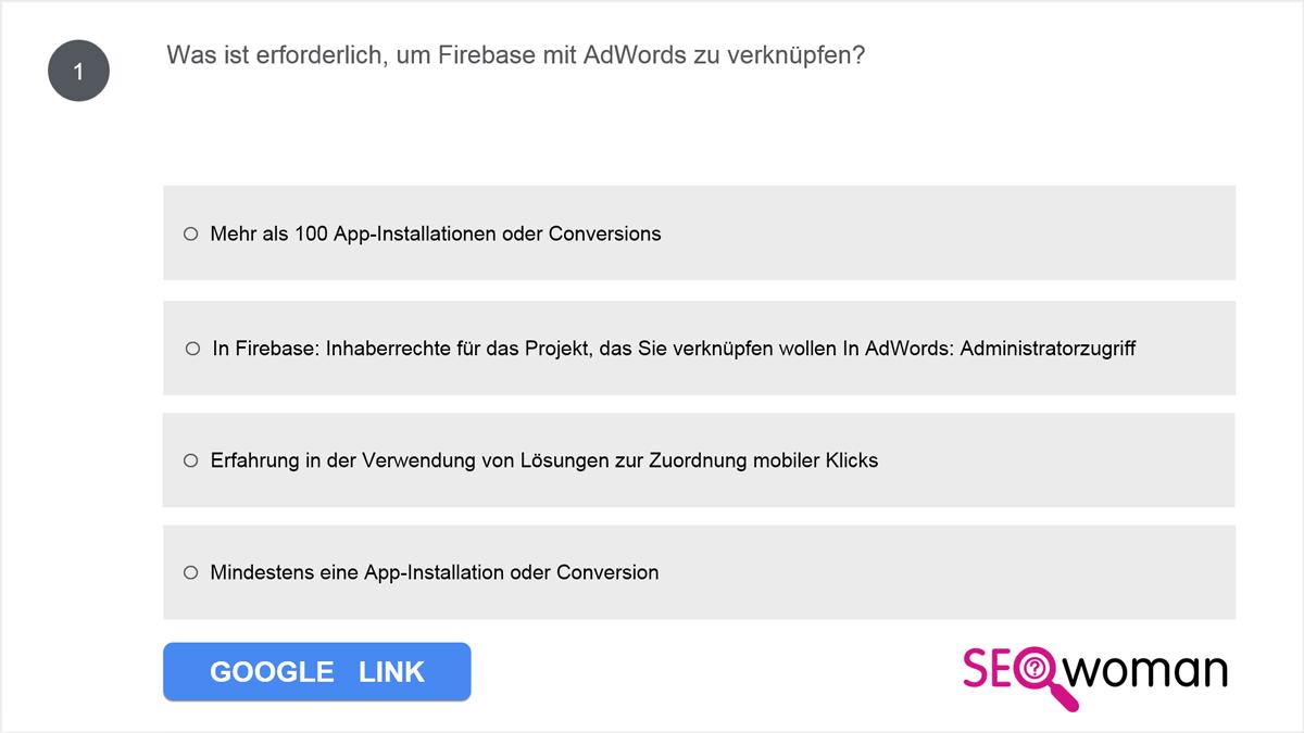Was ist erforderlich, um Firebase mit AdWords zu verknüpfen?