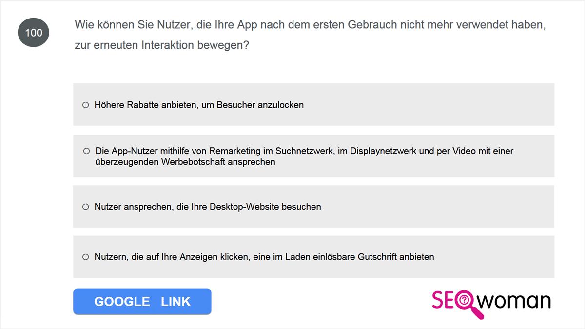 Wie können Sie Nutzer, die Ihre App nach dem ersten Gebrauch nicht mehr verwendet haben, zur erneuten Interaktion bewegen?
