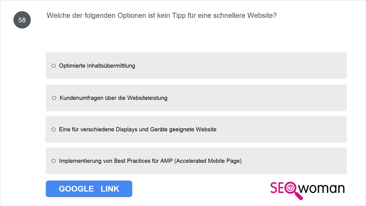 Welche der folgenden Optionen ist kein Tipp für eine schnellere Website?