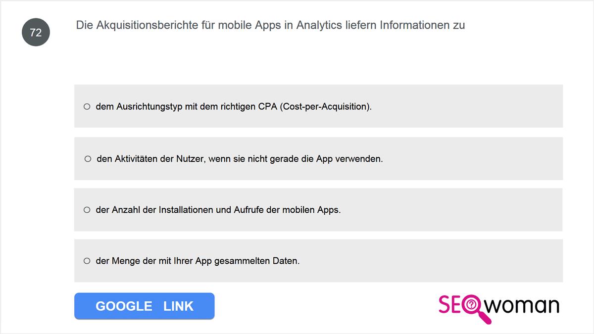 Die Akquisitionsberichte für mobile Apps in Analytics liefern Informationen zu ...