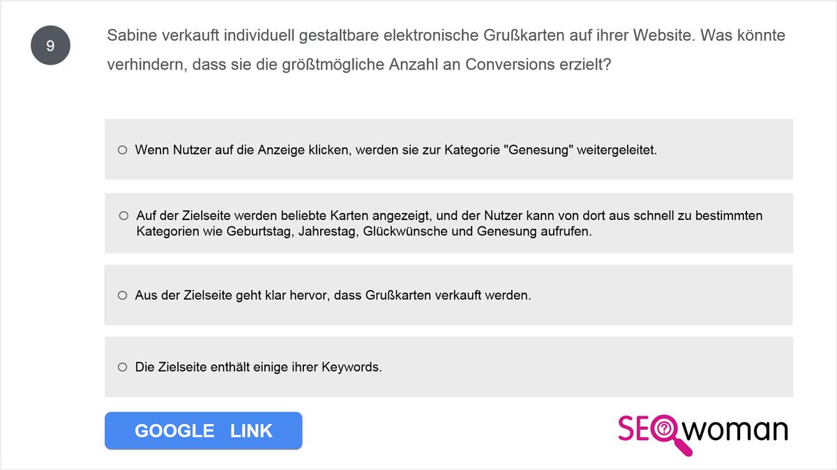 Sabine verkauft individuell gestaltbare elektronische Grußkarten auf ihrer Website. Was könnte verhindern, dass sie die größtmögliche Anzahl an Conversions erzielt?