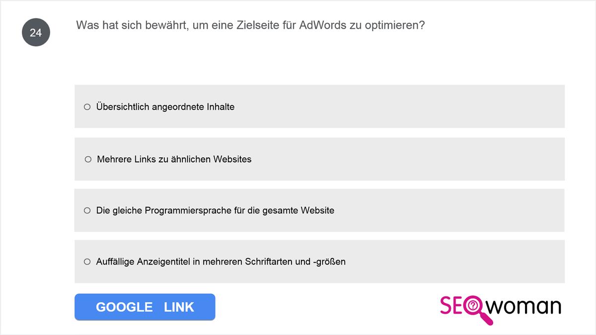 Was hat sich bewährt, um eine Zielseite für AdWords zu optimieren?