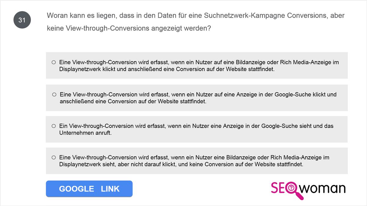 Woran kann es liegen, dass in den Daten für eine Suchnetzwerk-Kampagne Conversions, aber keine View-through-Conversions angezeigt werden?
