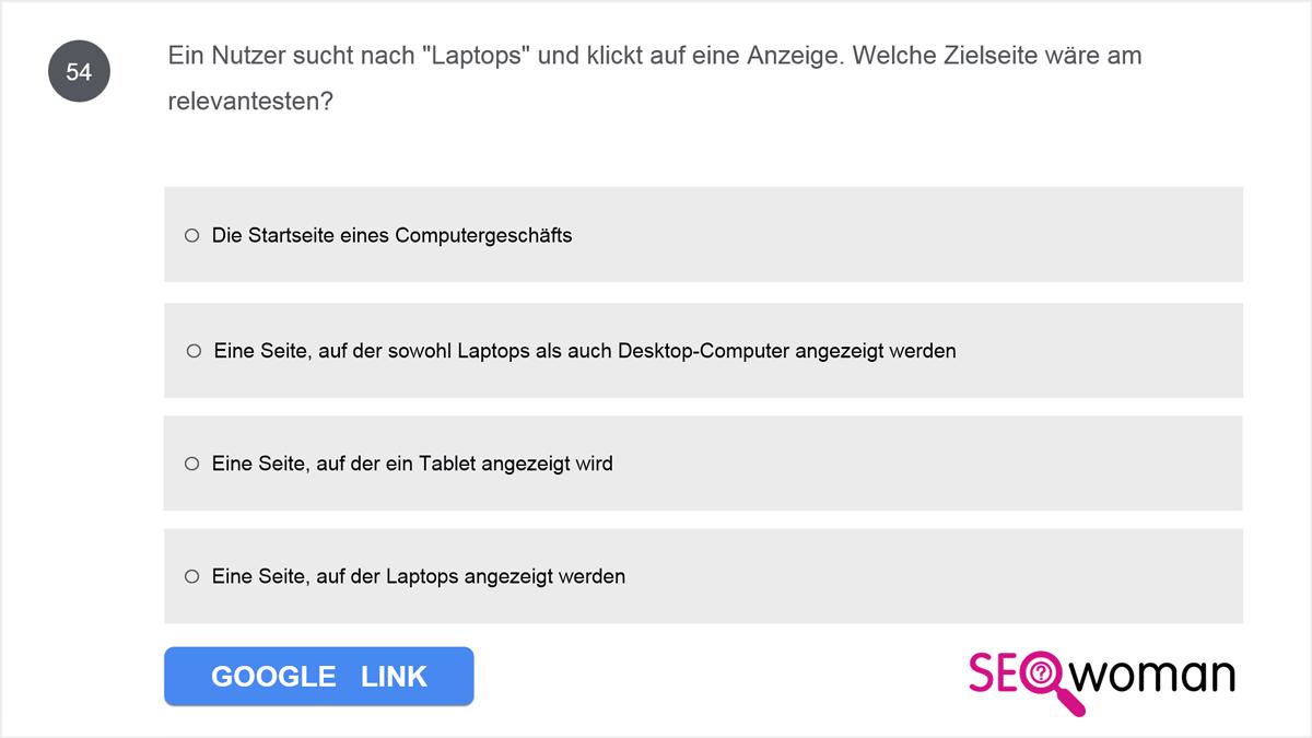 Ein Nutzer sucht nach Laptops und klickt auf eine Anzeige. Welche Zielseite wäre am relevantesten?