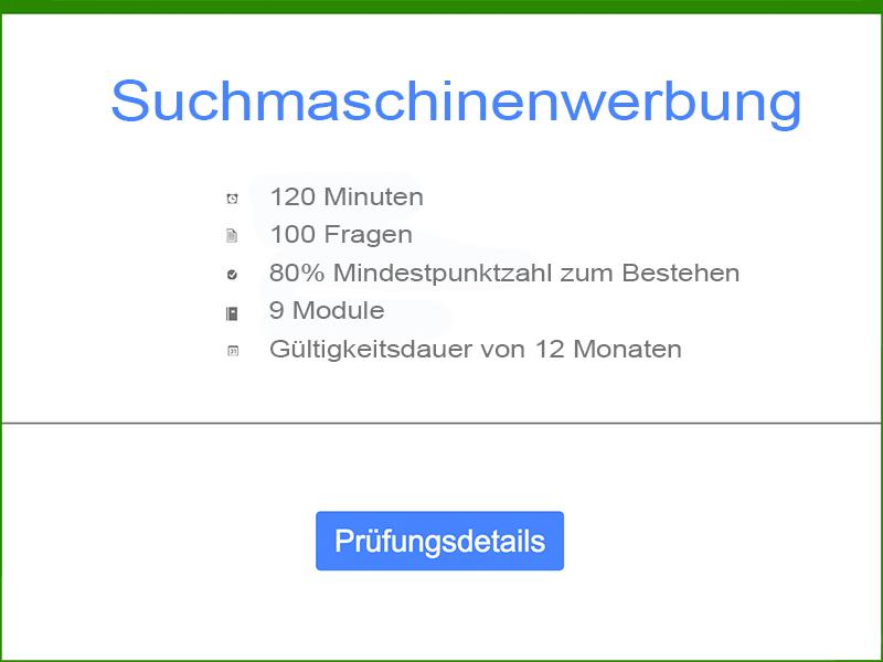 Informationen: Google AdWords Suchmaschinenwerbung Prüfung