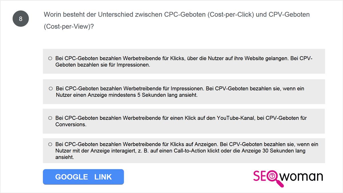 Worin besteht der Unterschied zwischen CPC-Geboten (Cost-per-Click) und CPV-Geboten (Cost-per-View)?