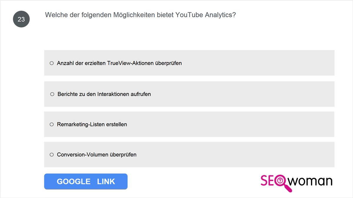Welche der folgenden Möglichkeiten bietet YouTube Analytics?