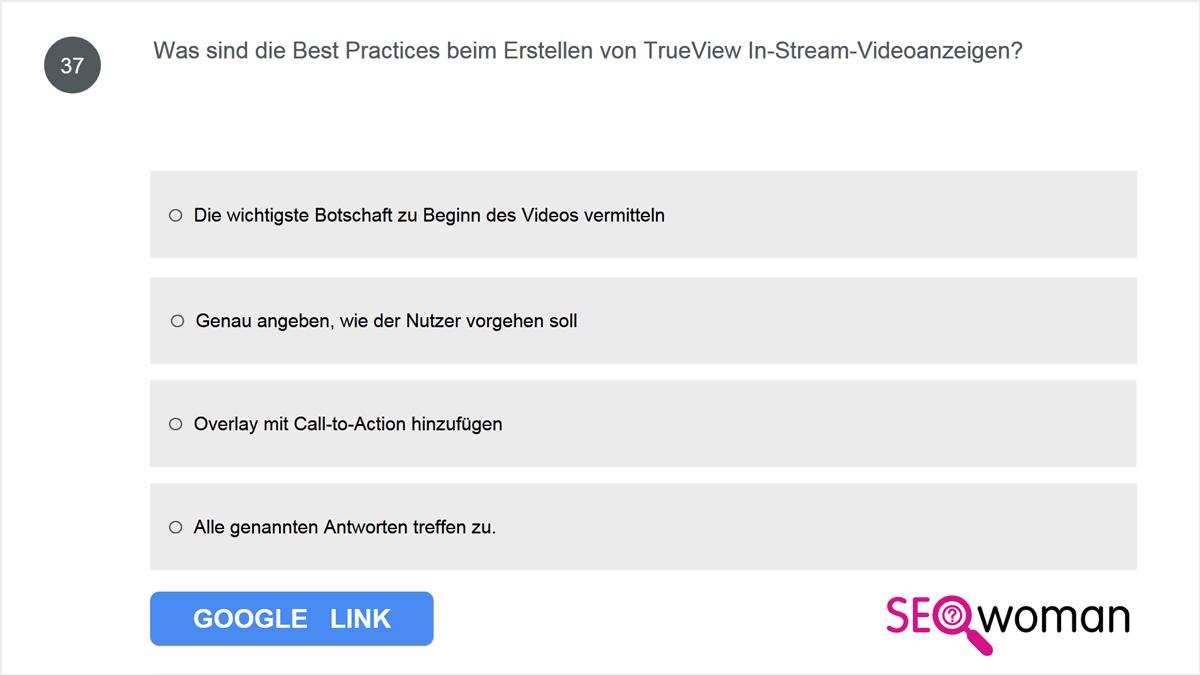Was sind die Best Practices beim Erstellen von TrueView In-Stream-Videoanzeigen?