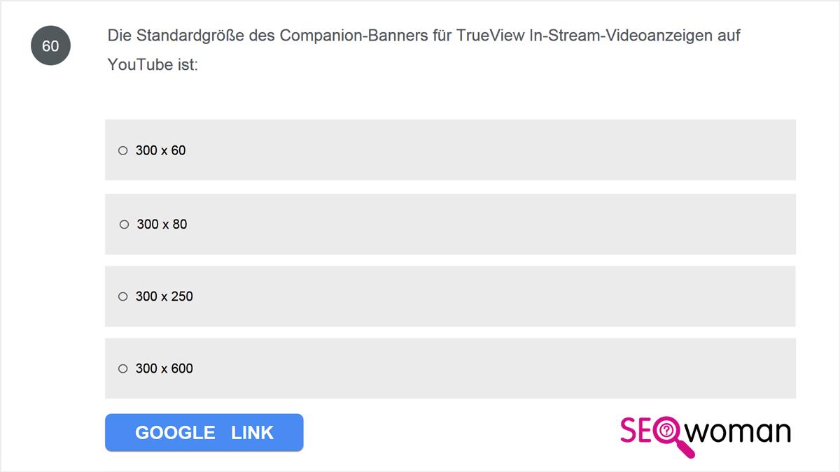 Die Standardgröße des Companion-Banners für TrueView In-Stream-Videoanzeigen auf YouTube ist: ...