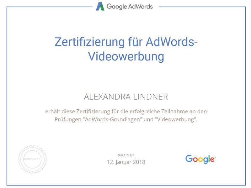 Google Prüfung Videowerbung (YouTube) Zertifikat