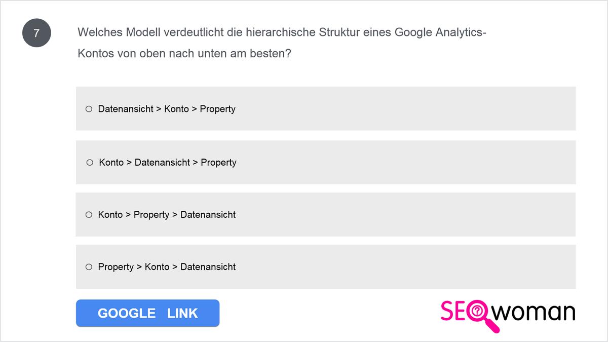 Welches Modell verdeutlicht die hierarchische Struktur eines Google Analytics-Kontos von oben nach unten am besten?