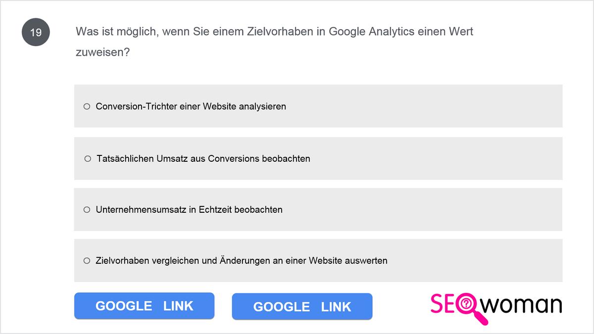 Was ist möglich, wenn Sie einem Zielvorhaben in Google Analytics einen Wert zuweisen?