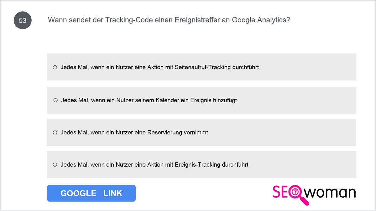 Wann sendet der Tracking-Code einen Ereignistreffer an Google Analytics?