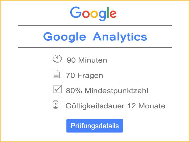 Google Analytics Prüfungsdetails