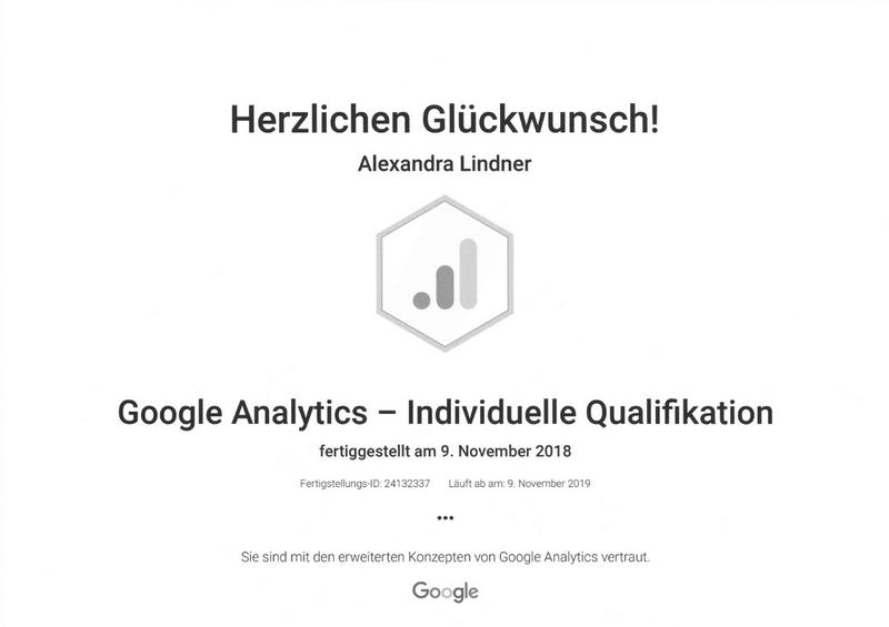Zertifikat Google Analytics 2019 Original