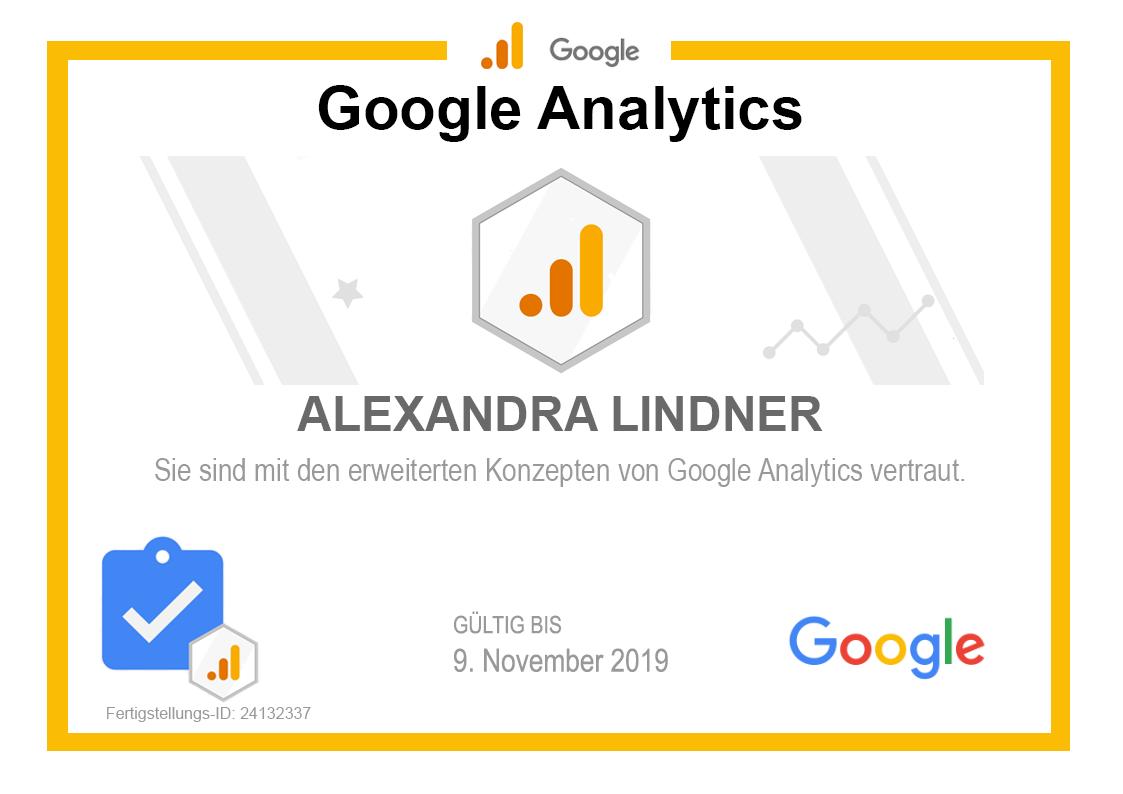 Zertifikat Google Analytics 2019 selbst gebaut
