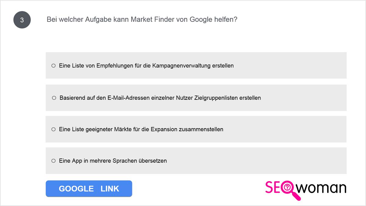 Bei welcher Aufgabe kann Market Finder von Google helfen?