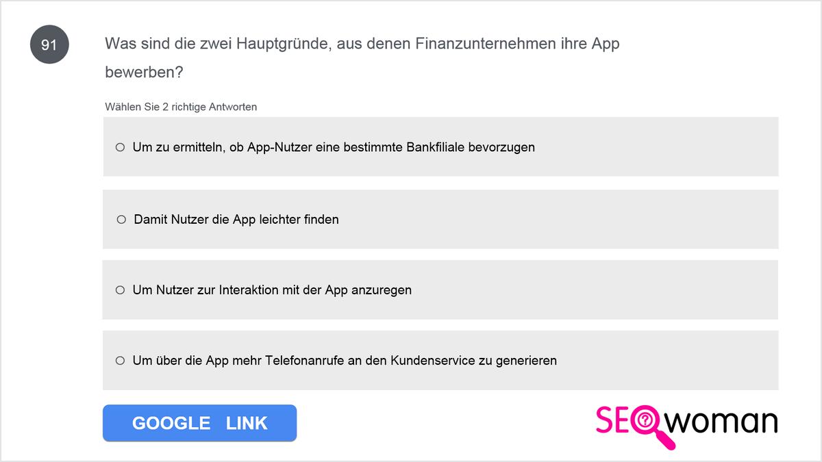 Aus welchen zwei Gründen sollte ein Finanzunternehmen für seine App werben?