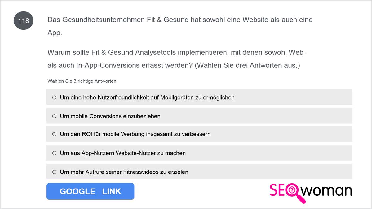 Das Gesundheitsunternehmen Fit & Gesund hat sowohl eine Website als auch eine App. Warum sollte Fit & Gesund Analysetools implementieren, mit denen sowohl Web-als auch In-App-Conversions erfasst werden?