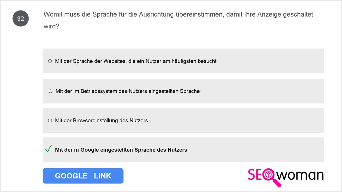 Womit muss die Sprache für die Ausrichtung übereinstimmen, damit Ihre Anzeige geschaltet wird?