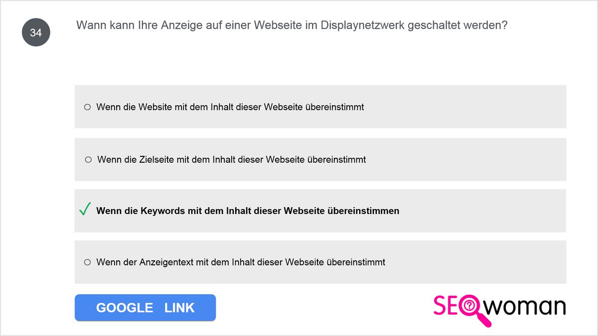 Wann kann Ihre Anzeige auf einer Webseite im Google Displaynetzwerk geschaltet werden?