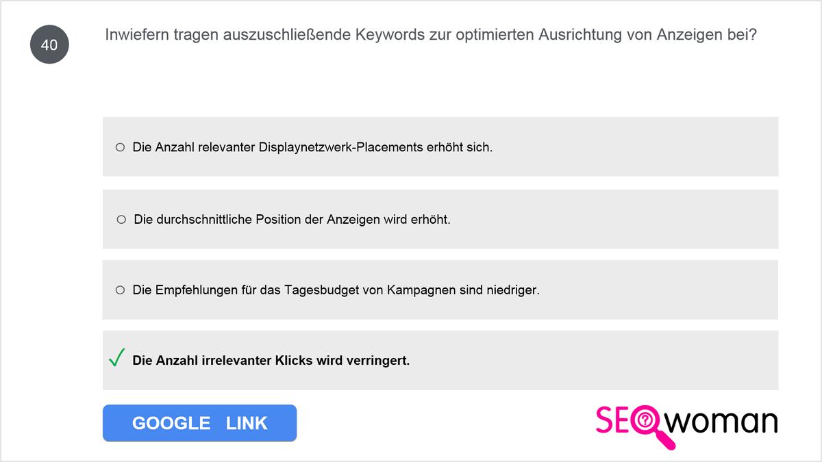 Inwiefern tragen auszuschließende Keywords zur optimierten Ausrichtung von Anzeigen bei?