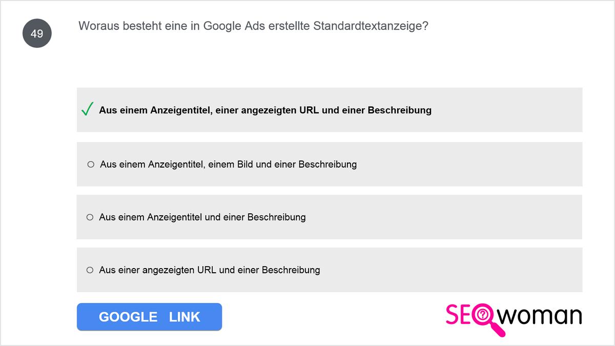 Woraus besteht eine in Google Ads erstellte Standardtextanzeige?