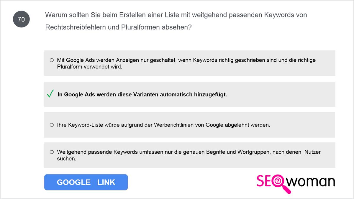 Warum sollten Sie beim Erstellen einer Liste mit weitgehend passenden Keywords von Rechtschreibfehlern und Pluralformen absehen?