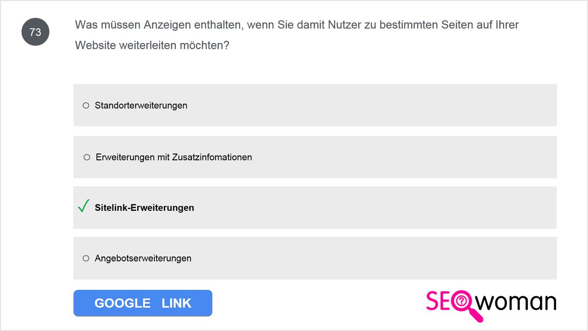 Was müssen Anzeigen enthalten, wenn Sie damit Nutzer zu bestimmten Seiten auf Ihrer Website weiterleiten möchten?