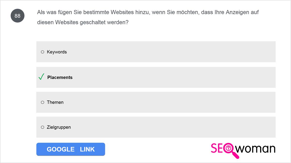 Als was fügen Sie bestimmte Websites hinzu, wenn Sie möchten, dass Ihre Anzeigen auf diesen Websites geschaltet werden?