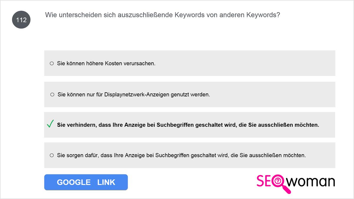 Wie unterscheiden sich auszuschließende Keywords von anderen Keywords?