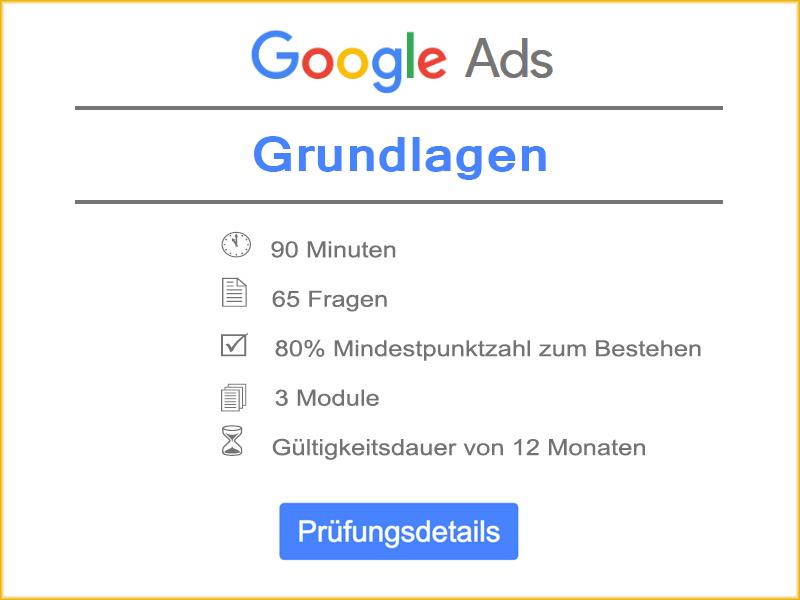 Google Ads Grundlagen Prüfungsdetails