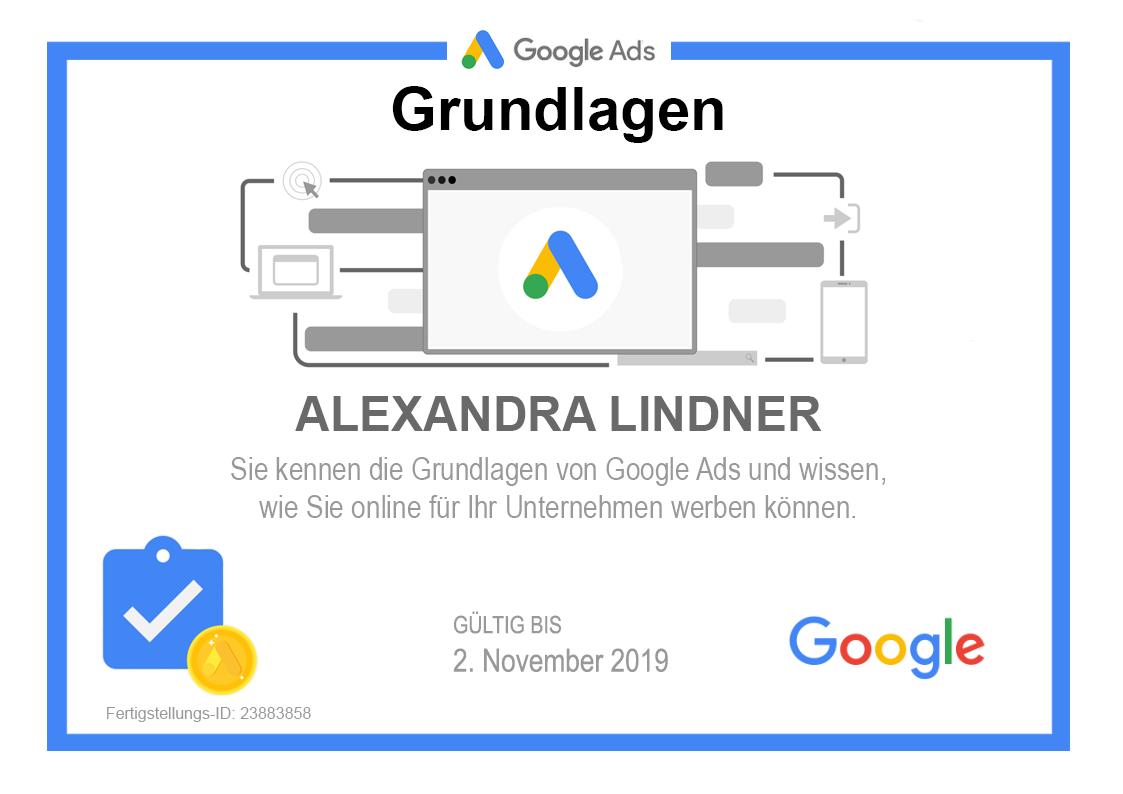 Zertifikat Google Ads Grundlagen 2019 selbst gebaut