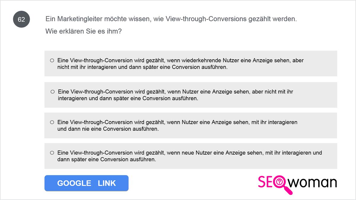 Wenn Sie Conversion-Aktionen in Google Ads und Google Analytics eingerichtet haben, werden Sie Unterschiede bei der Berechnung der Daten zwischen den beiden Plattformen feststellen. Nennen Sie einen dieser Unterschiede.