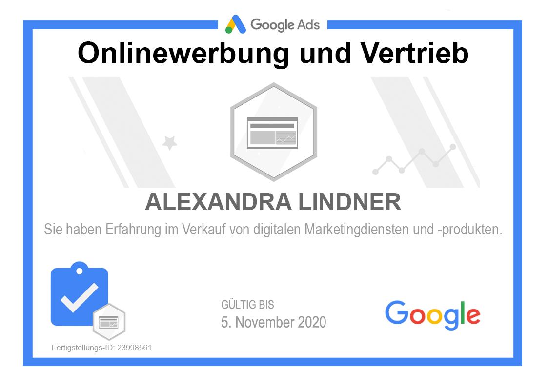 Zertifikat Google Onlinewerbung und Vertrieb 2019 selbst gebaut