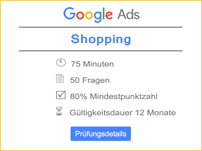 Google Ads Shopping Prüfung Details