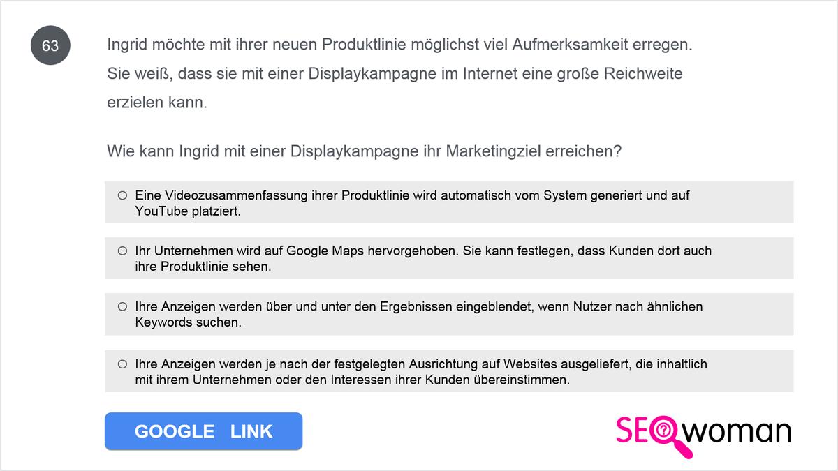 Welche Anforderung muss eine Anzeige erfüllen, um einem Nutzer präsentiert zu werden?