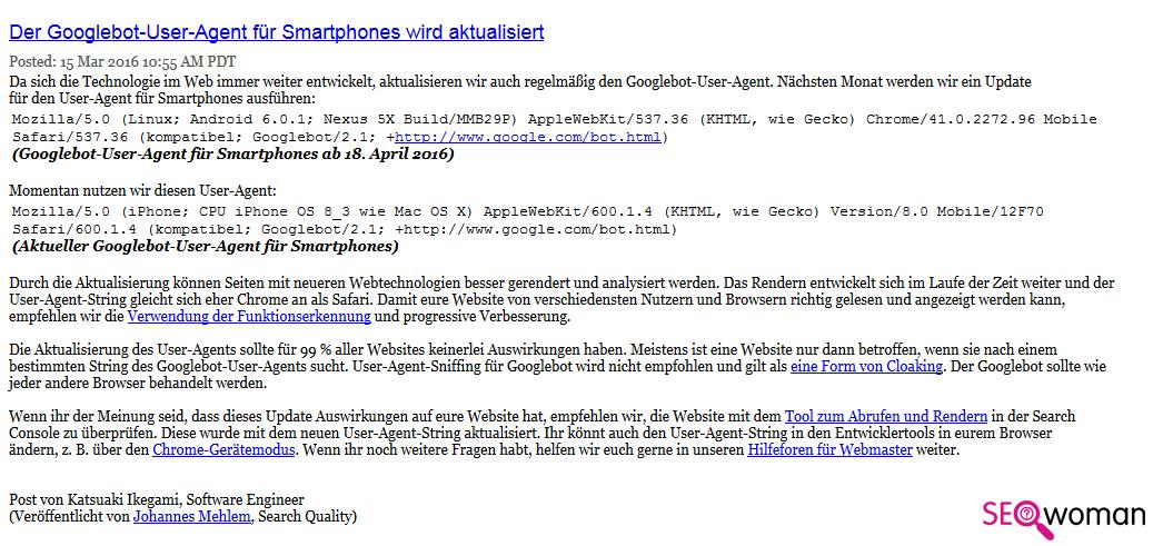 Google Bot UserAgent Smartphones