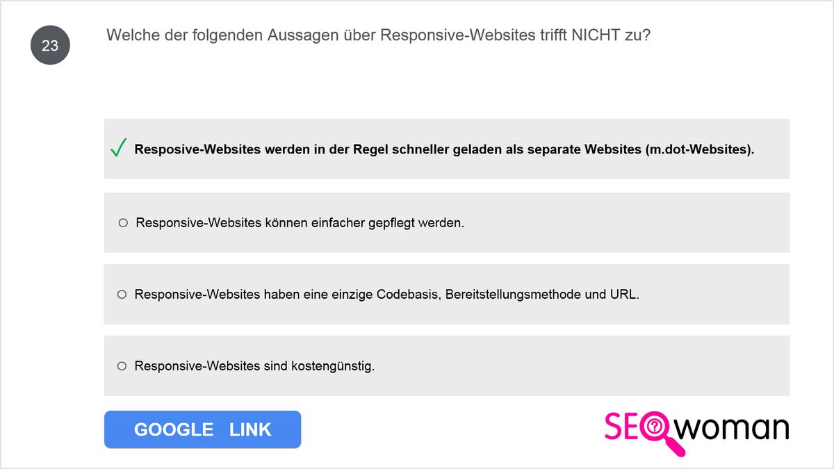 Welche der folgenden Aussagen über Responsive-Websites trifft NICHT zu?