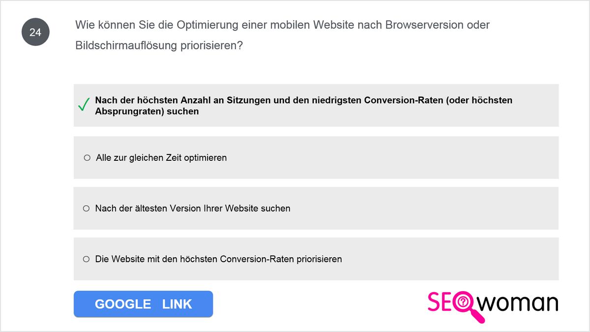 Wie können Sie die Optimierung einer mobilen Website nach Browserversion oder Bildschirmauflösung priorisieren?