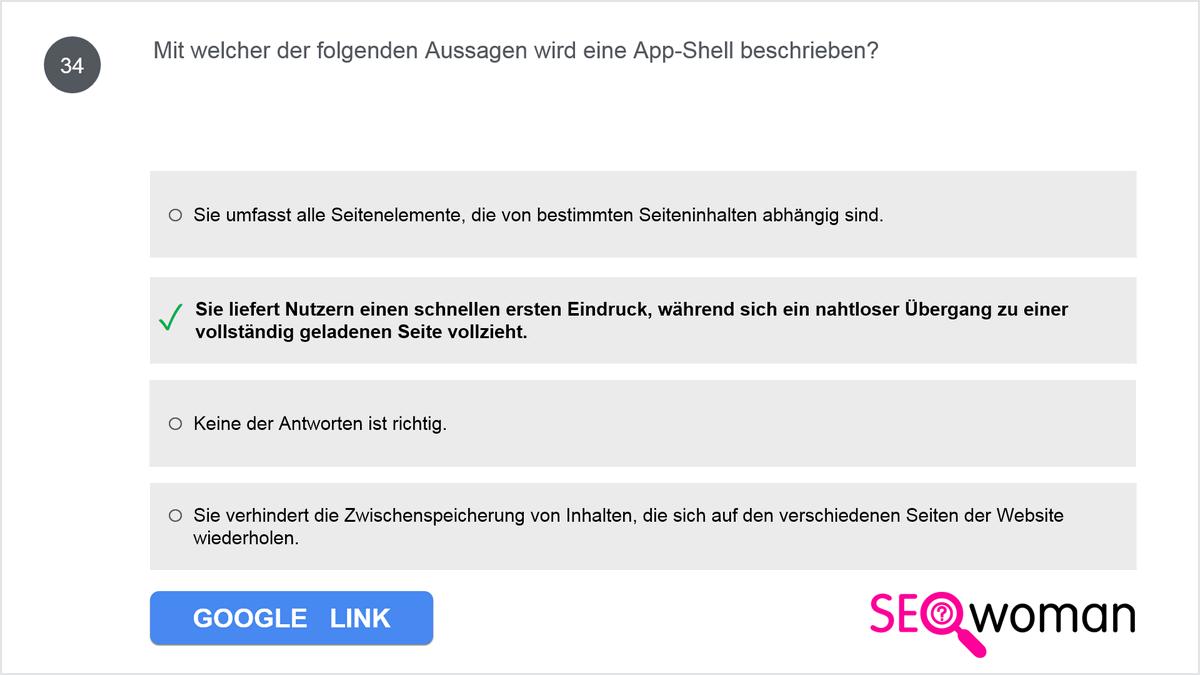 Mit welcher der folgenden Aussagen wird eine App-Shell beschrieben?