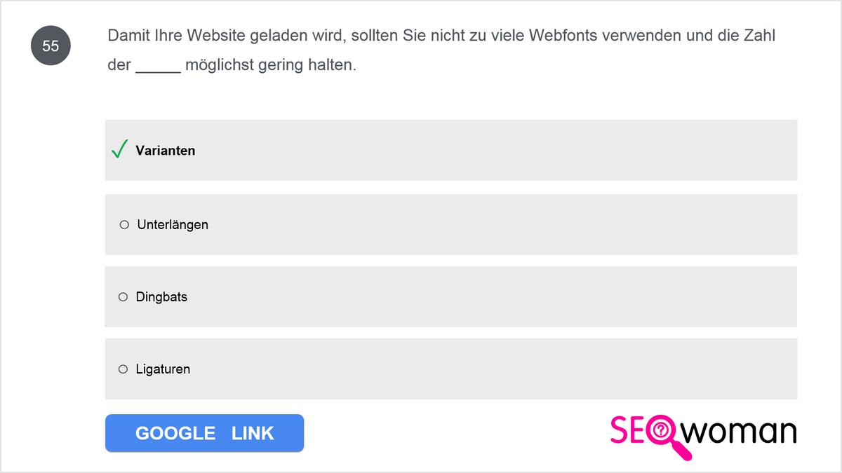 Damit Ihre Website geladen wird, sollten Sie nicht zu viele Webfonts verwenden und die Zahl der _____ möglichst gering halten.