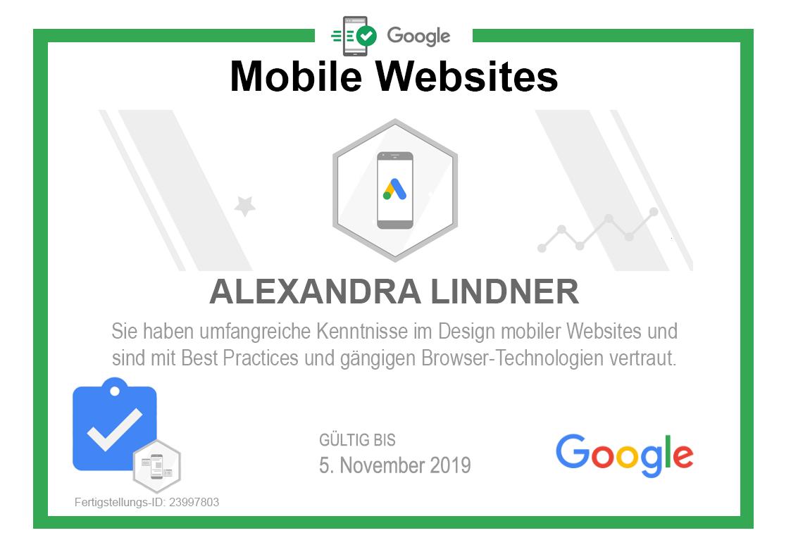 Zertifikat Google Mobile Websites 2019 selbst gebaut