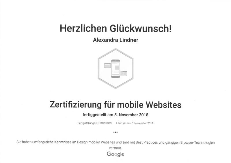 Zertifikat Google Mobile Websites 2019 Original