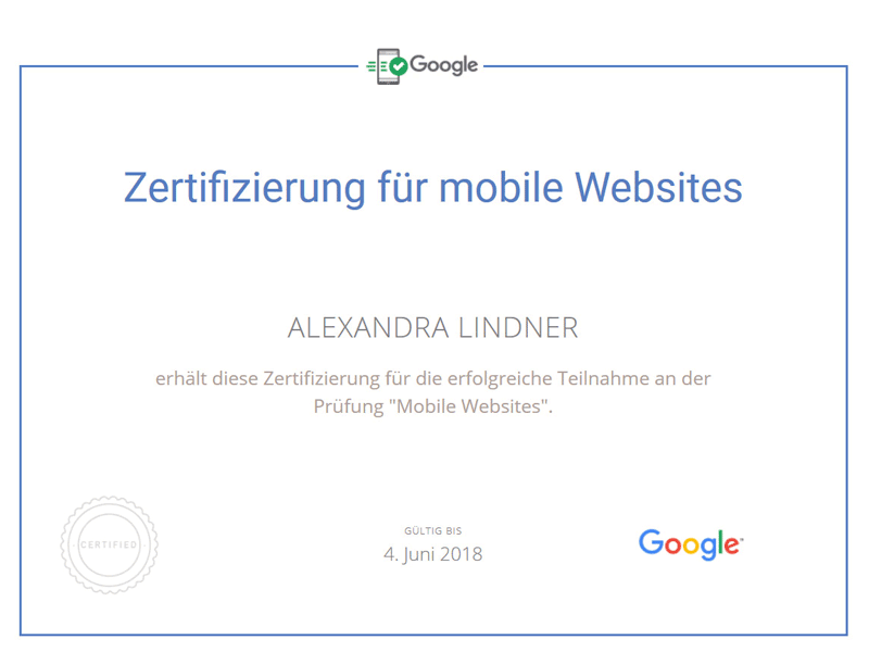 Alexandra Lindner Google Prüfung Mobile Websites