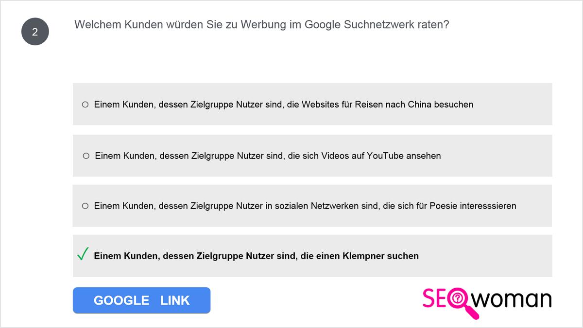 Welchem Kunden würden Sie zu Werbung im Google Suchnetzwerk raten?