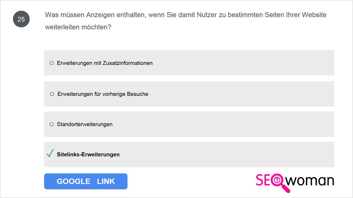 Was müssen Anzeigen enthalten, wenn Sie damit Nutzer zu bestimmten Seiten Ihrer Website weiterleiten möchten?