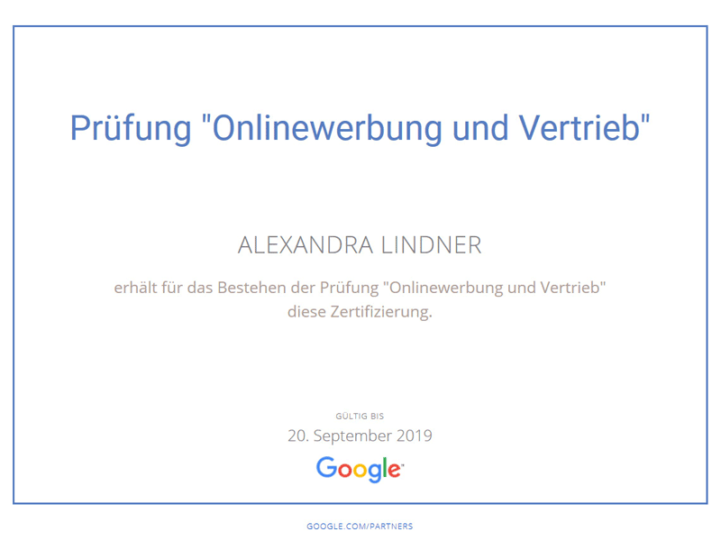 Zertifikat Google Onliewerbung und Vertrieb 2017