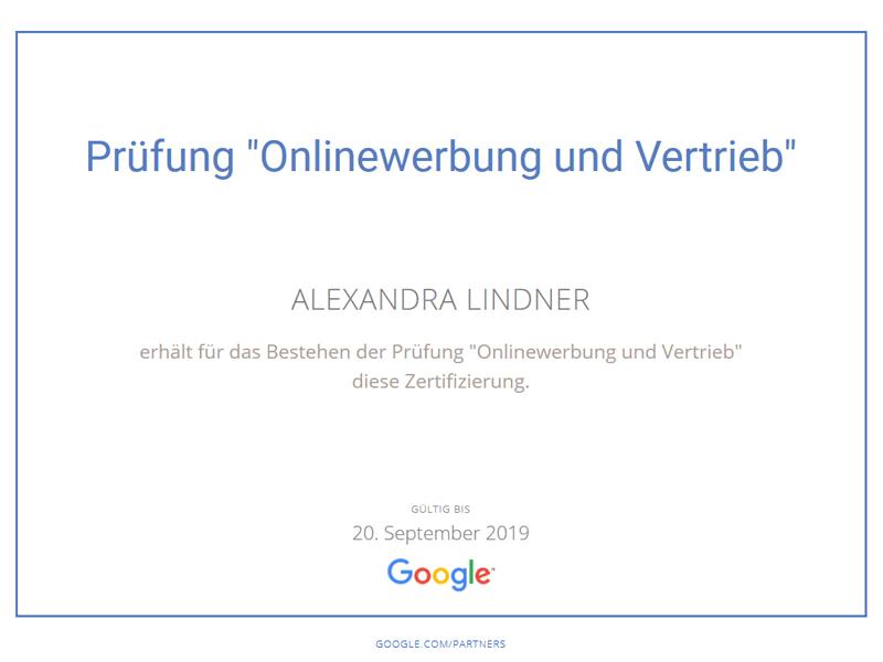 Google Prüfung Onlinewerbung + Vertrieb Zerfitikat
