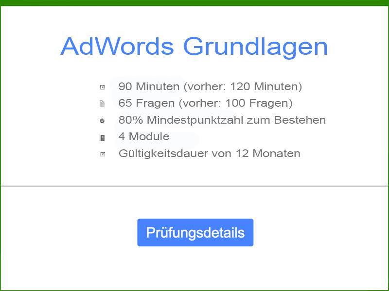 Google AdWords Grundlagen Prüfungsdetails